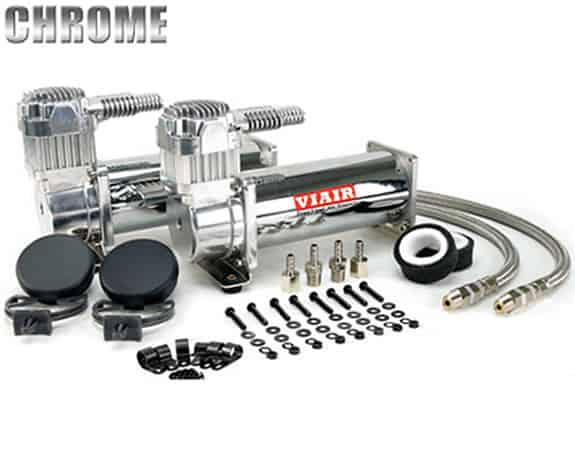 Dual 1/4HP VIAIR 444C Compressor Combo Kit (200psi) - Chrome