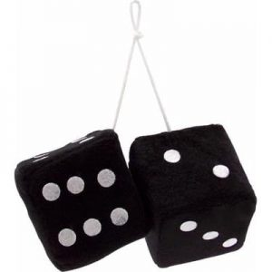 3″ Hanging Fuzzy Dice (PAIR) – Black