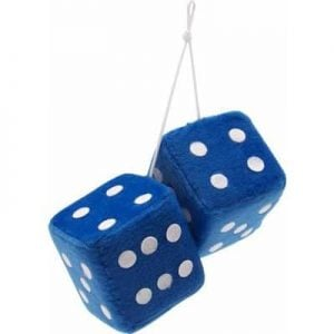 3″ Hanging Fuzzy Dice (PAIR) – Blue