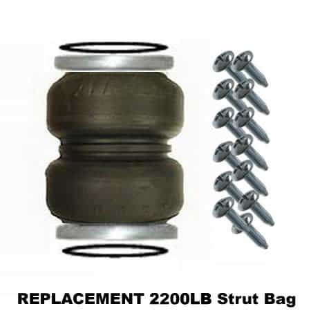 2200lb Double Bellow Bags, Plates, Seals and Screws (Bare) - Replacement Strut Air Bag/Spring