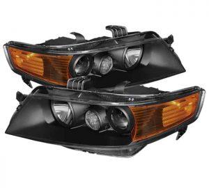 2004-2005 Acura TSX Amber Crystal Headlights – Black
