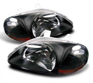 96-98 Honda Civic 2/3/4 Door Crystal Headlights – Black