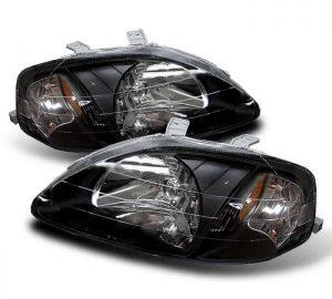 99-00 Honda Civic 2/3/4 Door Crystal Headlights – Black