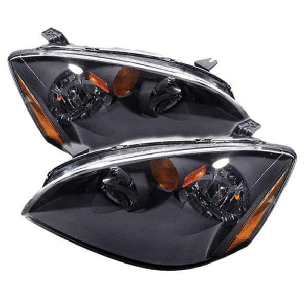 02-06 Nissan Altima Crystal Headlights (w/ Amber) – Black