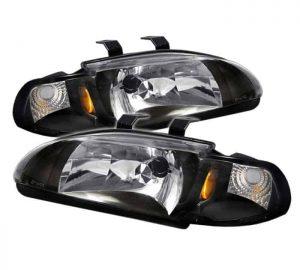 92-95 Honda Civic 2/3 Door 1PC Crystal Headlights – Black