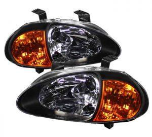 93-97 Honda Del Sol 1PC Amber Crystal Headlights – Black