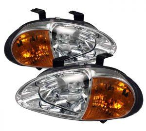 93-97 Honda Del Sol 1PC Amber Crystal Headlights – Chrome