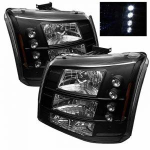 2003-2006 Chevy Silverado, C1500, C2500, C3500 1-PC LED Crystal Headlights – Black
