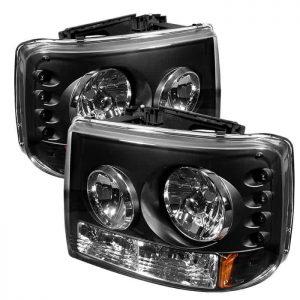 1999-2002 Chevy Silverado, Suburban, Tahoe 1-PC LED Crystal Headlights – Black