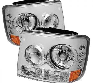 1999-2002 Chevy Silverado, Suburban, Tahoe 1-PC LED Crystal Headlights – Chrome