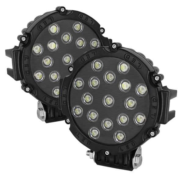 Lights LED Round - 7 Inch 17pcs 3W LED Total 51W - Black