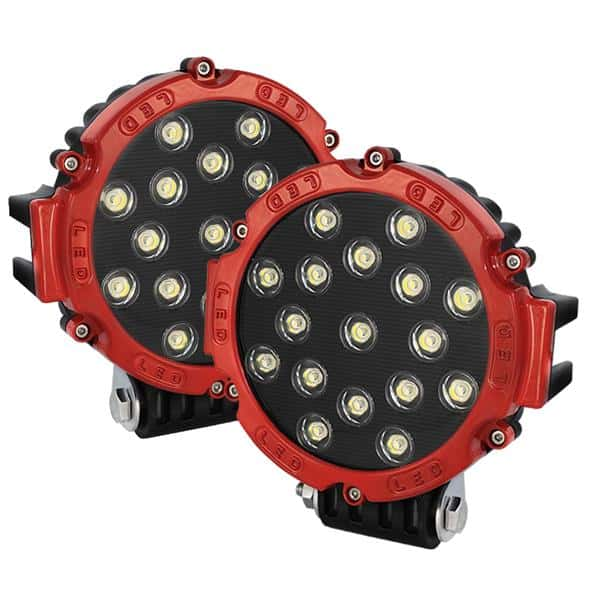 Lights LED Round - 7 Inch 17pcs 3W LED Total 51W - Red