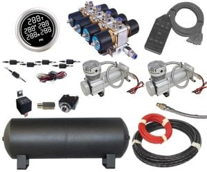 Large Complete Plug and Play Air Management System – 2/3 HP Dual Compressors, 3/8″ Valves (200PSI)