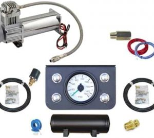 Manual Pneumatic Air Management System (4 Push Valve Kit w/Compressor, Tank & Gauges) 2 Corner