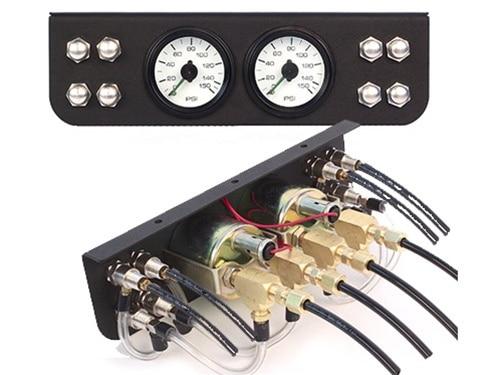 8 Manual Pneumatic Push-Button Miniature Valves, Gauge, and Panel