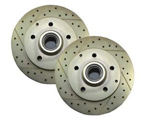 Mustang-II Drilled and Slotted Brake Rotors – Black (Pair)