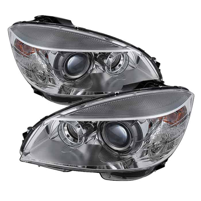 2008-2011 Mercedes Benz W204 C-Class OE Halo Projector Headlights - Chrome