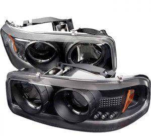 2001-2006 GMC Yukon Denali XL/SLT, Sierra Halo LED Projector Headlights (Replaceable LEDs) – Black