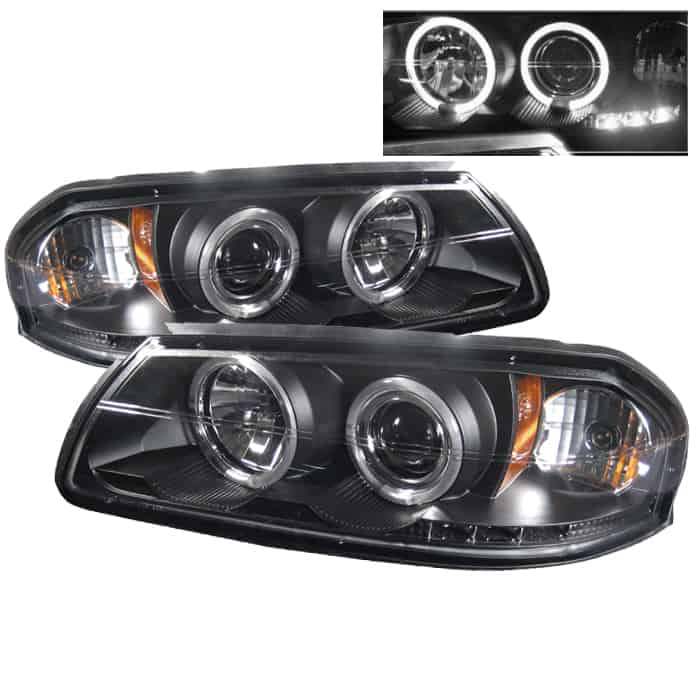 2000 2005 Chevy Impala Halo Led Projector Headlights Black
