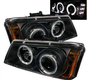 2002-2006 Chevy Silverado, Avalanche Halo LED Projector Headlights – Black