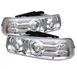 1999-2002 Chevy Silverado, Suburban, Tahoe Halo LED Projector Headlights – Chrome