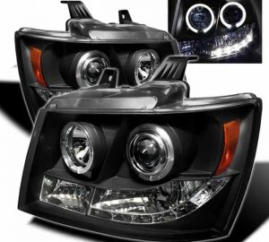 2007-2013 Chevy Suburban, Avalanche, Tahoe, Avalanche LED Halo Projector Headlights – Black