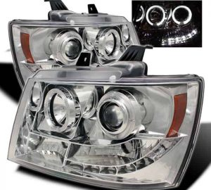 2007-2013 Chevy Suburban, Avalanche, Tahoe, Avalanche LED Halo Projector Headlights – Chrome