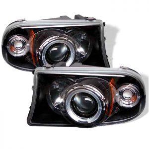 1997-2001 Dodge Dakota, Durango 1PC LED Halo Projector Headlights (Replaceable LEDs) – Black