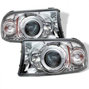 1997-2001 Dodge Dakota, Durango 1PC LED Halo Projector Headlights (Replaceable LEDs) – Chrome