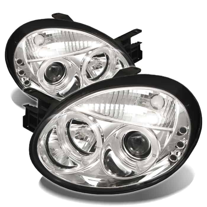 2003-2005 Dodge Neon Halo LED Projector Headlights (Replaceable LEDs) - Chrome