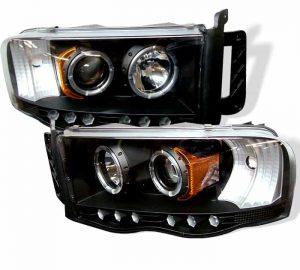 2002-2005 Dodge Ram Halo LED Projector Headlights (Replaceable LEDs) – Black