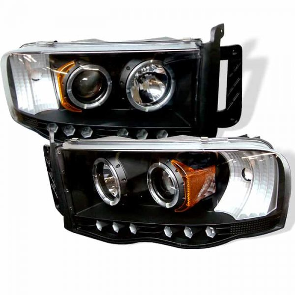 2002-2005 Dodge Ram Halo LED Projector Headlights (Replaceable LEDs) – Black