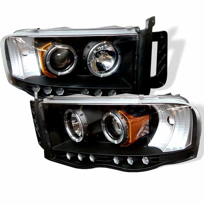 2002-2005 Dodge Ram Halo LED Projector Headlights (Replaceable LEDs) - Black