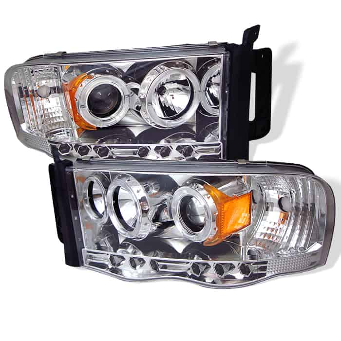 2002-2005 Dodge Ram Halo LED Projector Headlights (Replaceable LEDs) - Chrome