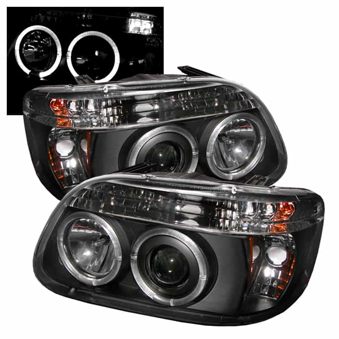 1995-2001 Ford Explorer 1PC Halo LED Projector Headlights (Not 2DR Sport or  Sport Trac Models) - Black