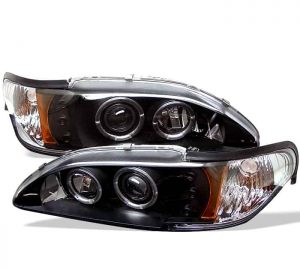 1994-1998 Ford Mustang 1PC Halo LED Projector Headlights – Black