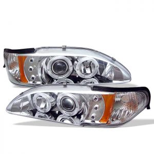 1994-1998 Ford Mustang 1PC Halo LED Projector Headlights – Chrome