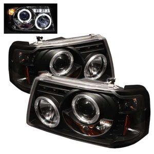 2001-2011 Ford Ranger 1PC Halo Projector Headlights (Replaceable LEDs) – Black