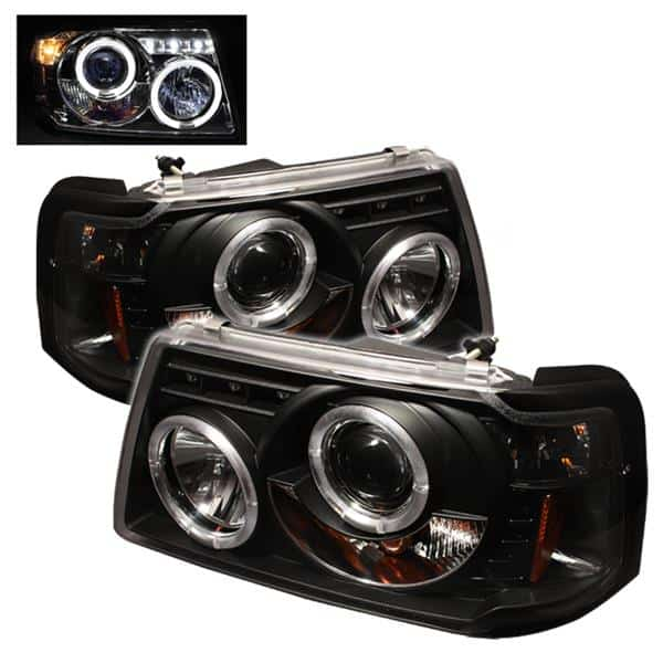 2001-2011 Ford Ranger 1PC Halo Projector Headlights (Replaceable LEDs) - Black