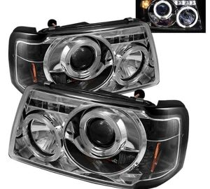 2001-2011 Ford Ranger 1PC Halo Projector Headlights (Replaceable LEDs) – Chrome