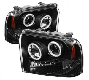 2005-2007 Ford F250/350/450 Super Duty CCFL LED Projector Headlights (Replaceable LEDs) – Black