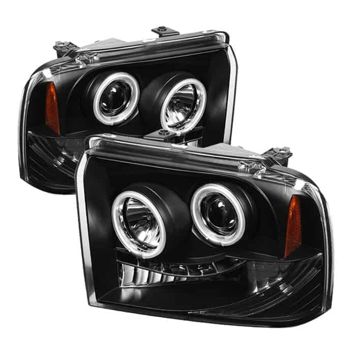 2005-2007 Ford F250/350/450 Super Duty CCFL LED Projector Headlights (Replaceable LEDs) - Black