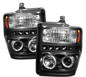 2008-2010 Ford F250/350/450 Super Duty CCFL LED Projector Headlights (Replaceable LEDs) – Black