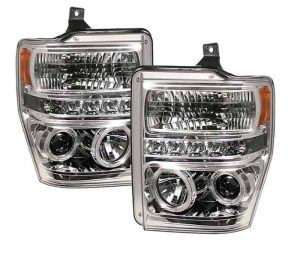 2008-2010 Ford F250/350/450 Super Duty CCFL LED Projector Headlights (Replaceable LEDs) – Chrome