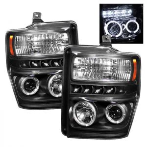 2008-2010 Ford F250/350/450 Super Duty Halo LED Projector Headlights (Replaceable LEDs) – Black