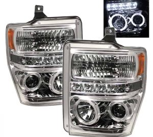 2008-2010 Ford F250/350/450 Super Duty Halo LED Projector Headlights (Replaceable LEDs) – Chrome