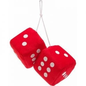 3″ Hanging Fuzzy Dice (PAIR) – Red