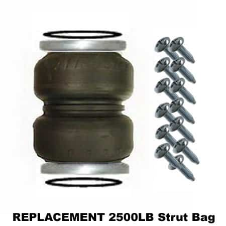 2500lb Double Bellow Bags, Plates, Seals and Screws (Bare) - Replacement Strut Air Bag/Spring