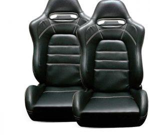 Racing EVO9 Style Seat 1pc PVC – Black/Black (Double Adjust/slider) (1PC)