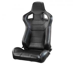 Racing SCS Style Seat 1pc Suede/PVC – Black/Black (Double Adjust/slider) (1PC)